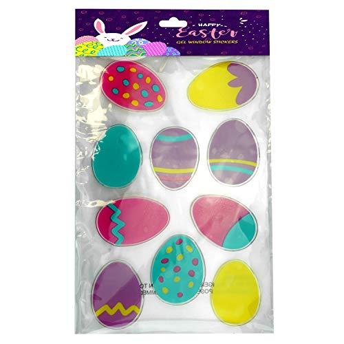 SRV Hub Pegatinas de gel de Pascua para ventana de doble cara, autoadhesivas, decoración para casa de Pascua, oficina, escuela y suministros de fiesta (paquete de 10 pegatinas de huevos multicolores)