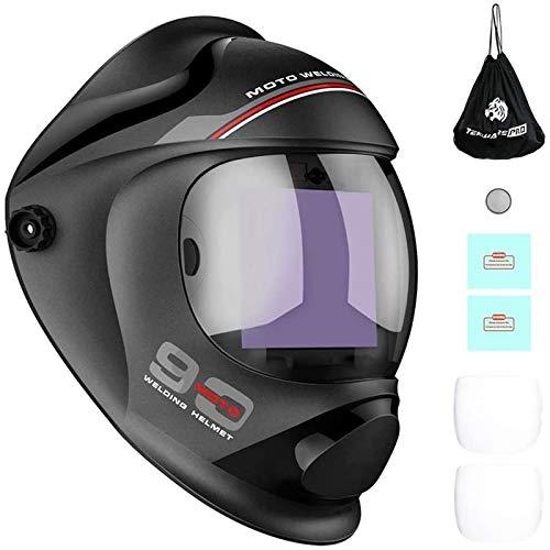 TEKWARE Large Viewing True Color Solar Powered Auto Darkening Welding Helmet, 4 Arc Sensor Wide...