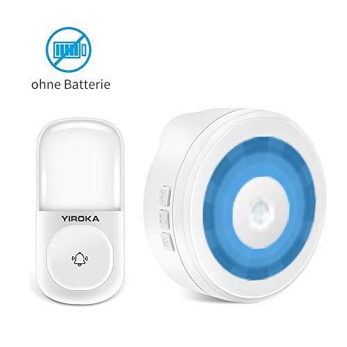 Funkklingel Aussen Wasserdicht ohne Batterie, Yiroka Türklingel Funk Batterielos, mit 1 Sender und 1 Empfänger, IP44 Wasserdicht, 58 Glockenspiele, 4 Lautstärke & LED Anzeige