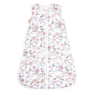 aden + anais Baby Sleeping Bag, 100% Cotton Muslin, Wearable Swaddle Blanket for Girls & Boys, Newborn Sleep Sack, Breathable & Lightweight, TOG Rating 1.0, Mon Fleur, Medium, 6-12 Months