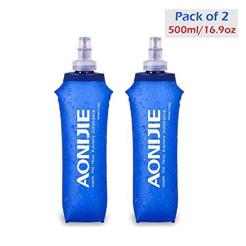 Azarxis TPU Faltbarer Soft Flask, BPA-Frei trinkblase Trinkflaschen Wasserflasche für Trinkrucksack Fahrrad Klettern Sport (500ml - 2 Stück)