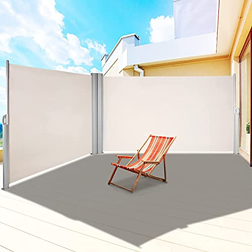 2PC Toldo Lateral 300 x 180 cm (L x H) Toldo Extensible de privacidad, Toldo Lateral Retráctil, Protege la Privacidad, para balcón, terraza, jardín, toldo de Pared Lateral, Enrollable Lateral