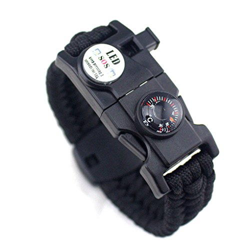 Topker Männer Frauen Geflochtene überleben Armband LED-Licht Paracord Armband Camping Rettungsseil Zahnradsatz mit Pfeife-Kompass-Feuer-Starter
