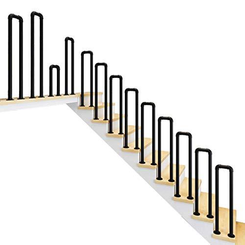 ZGYQGOO Soporte pasamanos Escalera, escalón Interior/Exterior Pasamanos Escalera U arqueado Barandales Escalera Antideslizantes Pasillo Ancianos Loft Hierro Forjado Negro Mate
