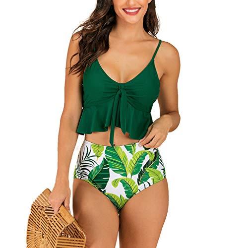Bikinis Mujer 2019 Bikini con Estampado de Cintura Alta Sexy Traje de Baño de Dos Piezas Brasileños Acolchado Bañador vikinis Push Up Dividido BañAdores Biquini Ropa riou