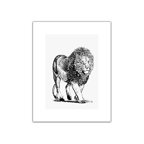 Homeofying moderne Marche Lion Animal Peinture murale Art Photo sur toile Chambre Décoration de la Maison 15cm x 20cm