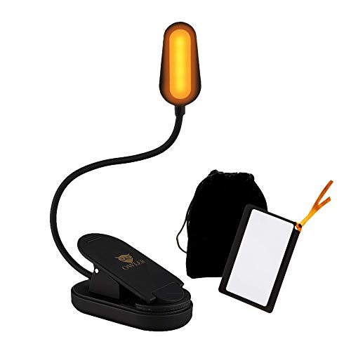 Book Light for Reading in Bed at Night by OWLER, Clip On Amber Book Light, Warm LED Reading Night Light, USB Rechargeable, Kindle Accessory, Lampara para Leer Libros, Comes with Magnifier Bookmark
