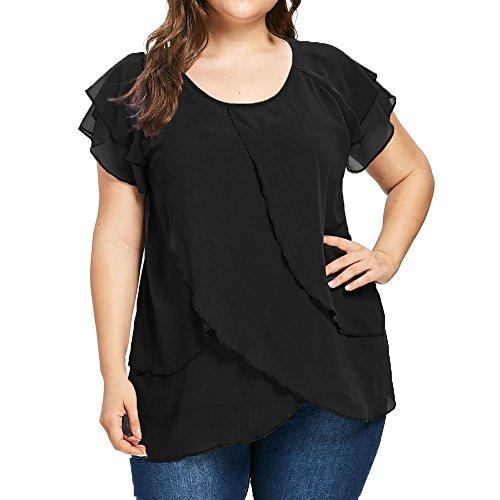 VJGOAL dames pullover, vrouwen avondjurk mode trendy chiffon T-shirt casual korte mouwen blousebovendeel met vaste ruches in oversized