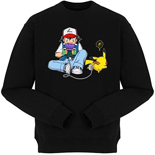 Okiwoki Pull Noir Parodie Pokémon - Sasha Ketchum et Pikachu - Batterie de Secours : (Sweatshirt de qualité Premium de Taille XL - imprimé en France)