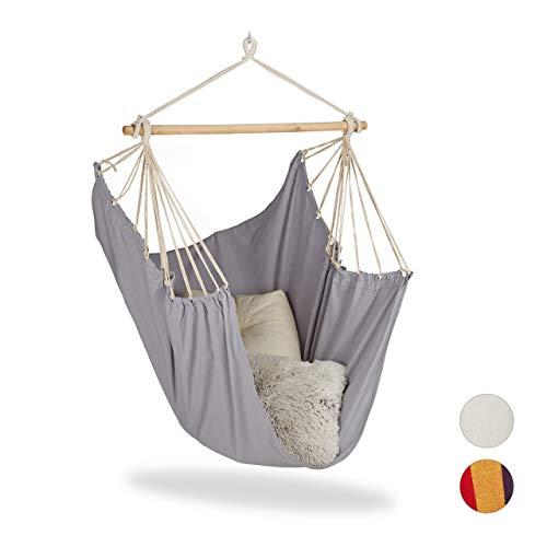 Relaxdays Hängesitz, XL Hängesessel aus Baumwolle, für Kinder & Erwachsene, Aufhängung, In- & Outdoor, bis 150 kg, grau