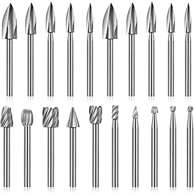 20 Pieces Wood Carving Drill Bit Set Includes HSS Engraving Drill Accessories Bit and HSS Carbide Wood Milling Burrs Universal Fitment for Rotary Tools, DIY Wooden Crafts