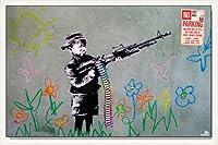 ポスター バンクシー Crayon Shooter 額装品 ウッドベーシックフレーム(ホワイト)