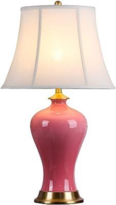 Maison Lampes de Table Lampe De Table Salon Chambre Lampe De Chevet Décoration Céramique Chaude Chambre Lampe De Chevet (Color : Pink1, Size : 33 * 58cm)