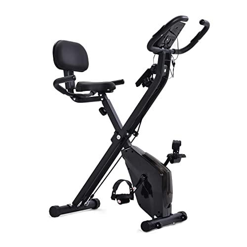 WZFANJIJ Cyclette Cyclette Indoor Cyclette Magnetica Cyclette Cyclette con Bande di Resistenza al Braccio, sensore di pulsazioni, Monitor LCD,Black