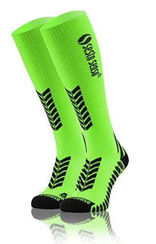 Sesto Senso Alte Calze a Compressione Sportive Donna Uomo per Sport 1-3 Paia 35-38 Verde Neon
