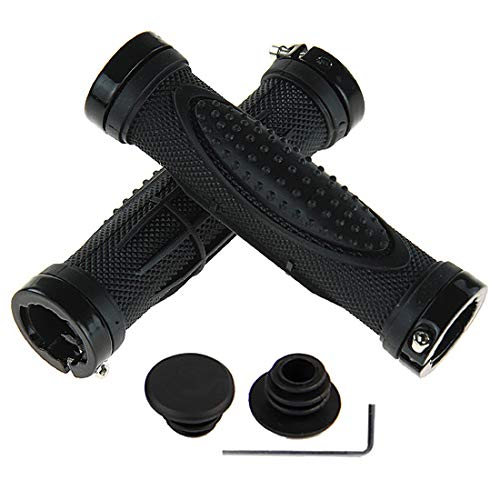 Bike Handlebar Grips, Double Lock-on Bicycle Handle Bar, Soft Non-Slip-Rubber Hand Grip Comfortable Ergonomic for BMX, Mountain, MTB, Beach Cruiser, Scooter, Folding Bike (Double Lock)