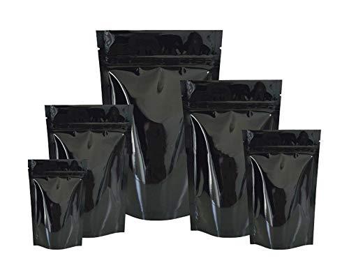 Buzzfashion 50pcs Bolsas ziplock de Aluminio Hoja Mylar Matt, antiolores, para Comida Almacenamiento, Negro, 160x230+45x2(mm)