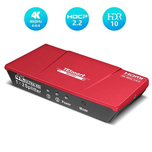 HDMIスプリッター 1入力2分配 HDMI分配器 1×2 HDMIセレクター 4K60Hz 4:4:4 HDMI Splitter 手動 切り替え 2.0 HDR10 HDCP2.2 EDID認識対応 1 in 2 out 2出力同時 HDDレコーダー、