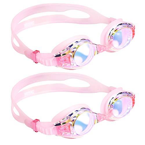 aegend Kinderbrille 2er Pack, Schwimmbrille für Kinder Alter 3-8 Kleine Jungen und Mädchen Jugendschwimmbrille, klare Sicht, weiches Silikon, kein Leck, UV-Schutz, Antibeschlag