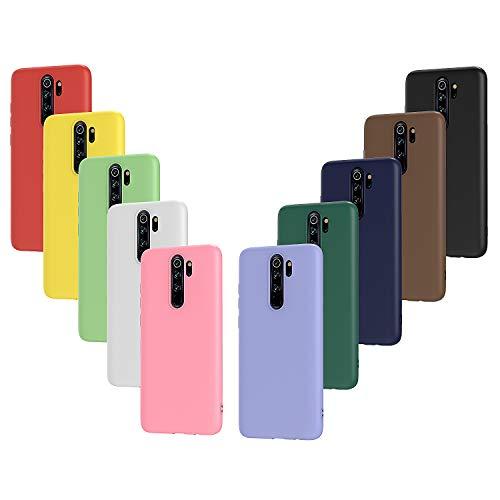 ivoler 10x Hülle für Xiaomi Redmi Note 8 Pro, Ultra Dünn Tasche Schutzhülle Weiche TPU Silikon Handyhülle Hülle Cover (Schwarz, Weiß, Blau, Grün, Dunkelgrün, Rosa, Rot, Gelb, Braun, Lila)