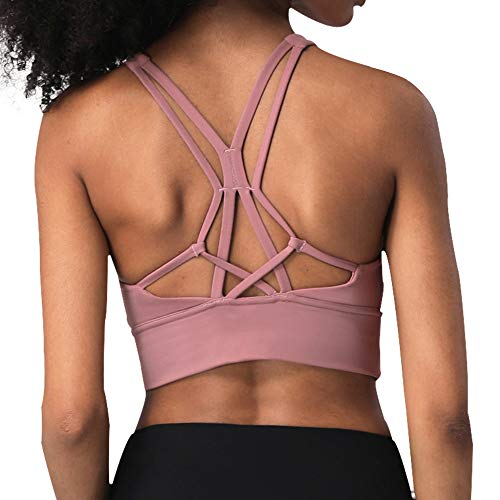 ANIMQUE Reggiseno Sportivo Donna Torre Eiffel Schiena Anti-Shock Collo Alto Fitness Yoga Top Media Intensità, Rosa Scuro M