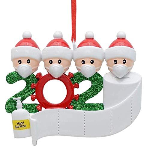 SunshineFace Decoración Colgante de Árbol de Navidad de Bricolaje Familia de 4 Adornos Personalizados