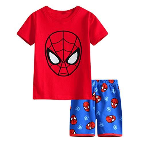Rling Boys Shorts 2 Piece Pajama Set 100% Cotton,Size 3-6Yrs (Spiderman, 6t)