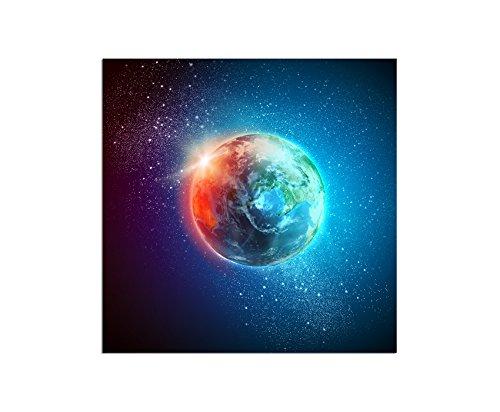 Paul Sinus Art 80x80cm - WANDBILD Planet Erde Weltall - Leinwandbild auf Keilrahmen modern stilvoll - Bilder und Dekoration