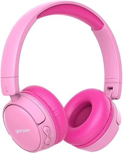 gorsun Kinderkopfhörer, Bluetooth Kopfhörer für Kinder mit Gehörschutz, Leichte Kinder Kopfhörer-Rosa