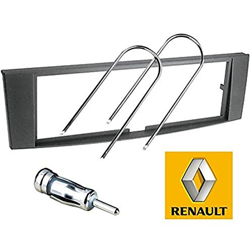 Sound-way Kit Montage Autoradio, Marco 1 DIN Radio de Coche, Adaptador Antena, Llaves Desmontaje Compatible con Renault Laguna
