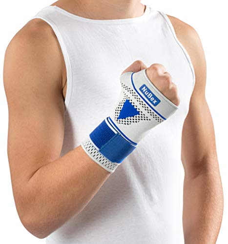 Nutrics | Aktiv Handgelenkbandage | Damen und Herren | Elastische Pelotte | Unterstützend am Handgelenk (Linke Hand, S (17-21cm))