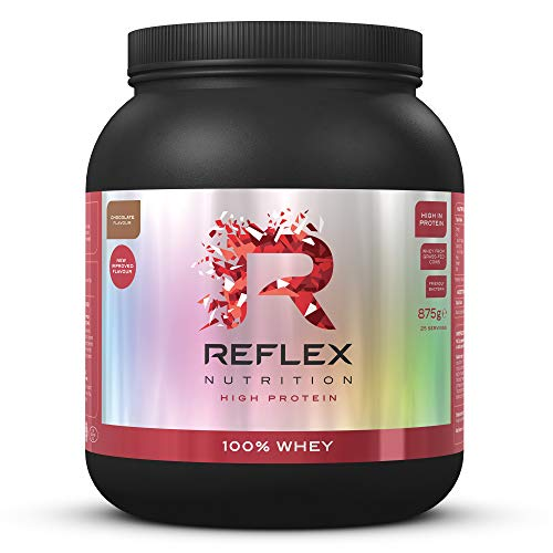 Reflex Nutrition 100% Whey Protein Powder Pure Whey Concentrate & Amino Acids Amazing New Taste No Added Sugar Protein Powder (Chocolate) (875g) (Made in the UK)