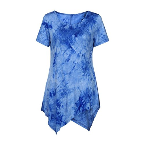VEMOW Sommer Frauen Damen Casual T-Shirt Oansatz Bluse Ptinted Kurzarm Unregelmäßige Tops Plus Größe (42 DE/M CN, Blau)