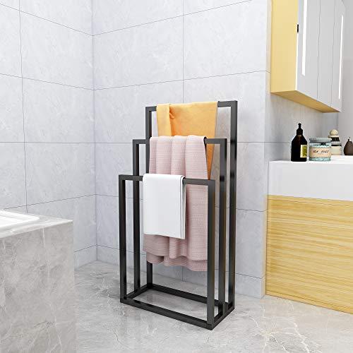 Metal Freestanding Towel Rack 3 Tiers Hand Towel Holder Organizer for Bathroom Accessories, Black