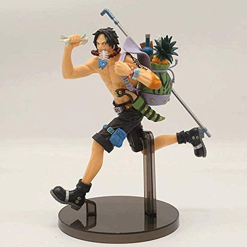 JINFENFG One Piece Running Ace Handmade Scenery Fire Fist Ace Backpack Ace Shape 20cm PVC Material Boxed Figure Model Scenery Toys Hand-made Computer Desktop Decoration Birthday Gifts New Year Gifts