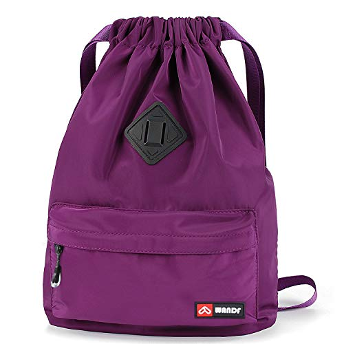 WANDF Drawstring Backpack with Shoe Pocket, String Bag Sackpack Cinch Water Resistant Nylon for Gym Shopping Sport Yoga (Purple with shoe pocket)