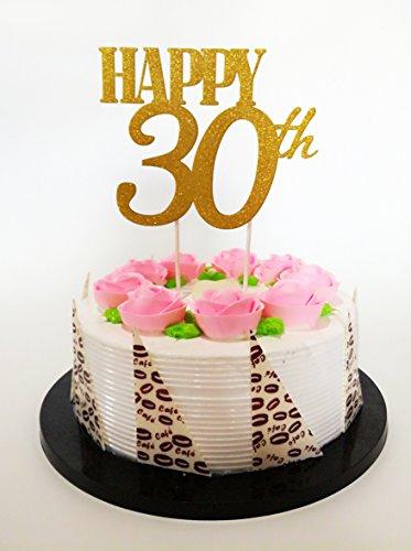 Kuchendekoration zum 30. Geburtstag, goldfarben, glitzernd