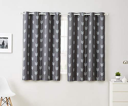 "HLC.ME Arrow Printed Blackout Room Darkening Thermal Grommet Window Curtain Drape Panels for Kids Room - Set of 2 - Grey - 63"" inch Long"
