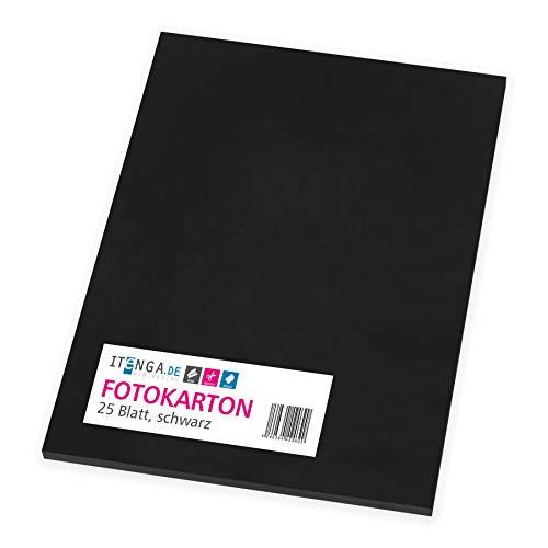 itenga Fotokarton 25 Blatt A4 300 g/qm - Tonpapier Tonkarton Druckerpapier Bastelpapier Bogen durchgefärbt zum kreativen Gestalten und Basteln (Schwarz)