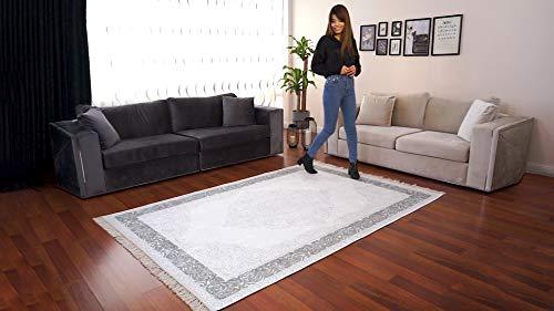 BESYILDIZ KALiTE HALI Designer Teppich Modern Wohnzimmer Esszimmer Schlafzimmer Bordüre Hochwertig Meliert Kurzflor bedruckter Grau-Grün