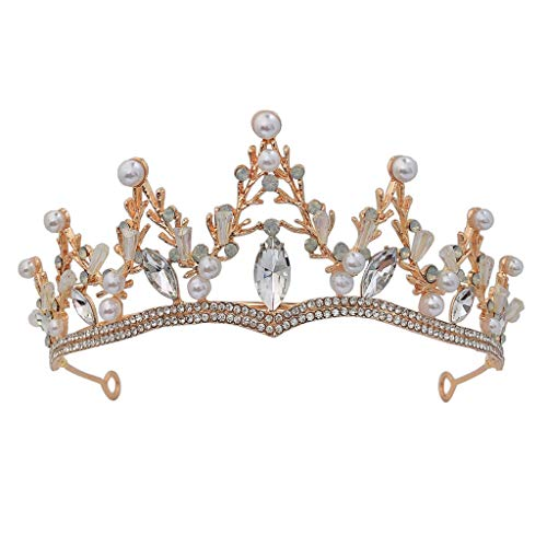 lijun Pearl Crown Rhinestone Tiaras for Costume Party Hair Accessories with Gemstone