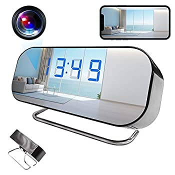 Spy Hidden Alarm Clock Camera AMCSXH HD 1080P Wifi Mini Spy Clock Nanny Camera with Night Vision Motion Detection for Home Securtiy and Office,