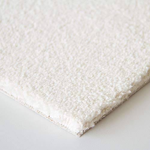 Steffensmeier Teppichboden Oxford Meterware | Auslegware für Kinderzimmer Wohnzimmer Schlafzimmer | Weiß, Größe: 100x200 cm
