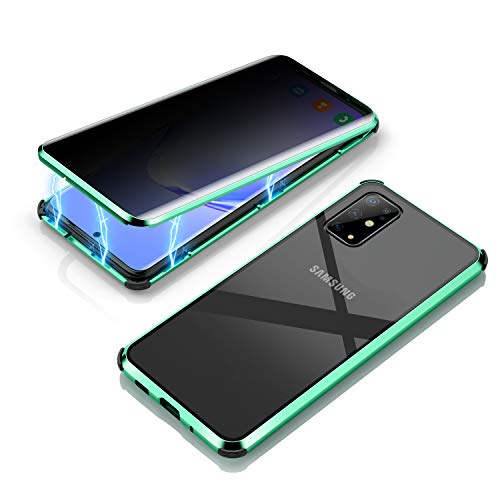 KMXDD Anti-peep Galaxy S20 Plus S20+ Double Sided Tempered Glass Case Magnetic Adsorption 360° Full Body Privacy Screen Anti-Spy Metal Bumper Clear Cover 4 Corners Silicone (Green, Galaxy S20 Plus)