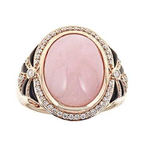 Gin & Grace Oro de 14K Rose Pink Opal genuino, auténtico ónix y diamante natural (I1, I2) Proponer gran declaración cóctel Promise Ring para la Mujer