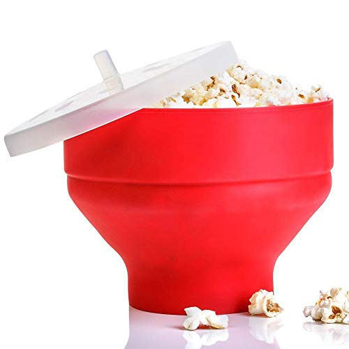 Lowest Prices! Nicemeet Microwave Popcorn Maker, Silicone Popcorn Maker Collapsible Bowl with Lid, S...