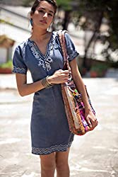 embroidered gift ideas ~ boho chic denim dress