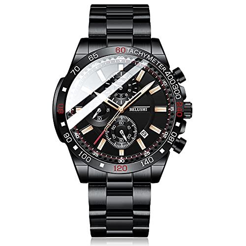Relojes para hombre cronógrafo resistente al agua sin dolor de acero militar analógico cuarzo hombres reloj de negocios fecha relojes de pulsera, A-negro, Pulsera