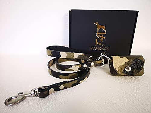 TOP4DOGS Correa con porta bolsas, collar para perro de piel auténtica, fabricada en Italia, color militar
