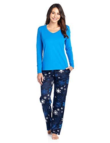 Ashford & Brooks Women's Long Sleeve Cotton Top Fleece Pants Pajama Set - Navy Frozen Snowflake - X-Large
